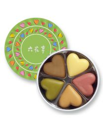ROKKATEI Chocolate Round Heart (Green) Made in HOKKAIDO Free Shipping New Box