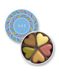 ROKKATEI Chocolate Round Heart (Blue) Made in HOKKAIDO Free Shipping New Box